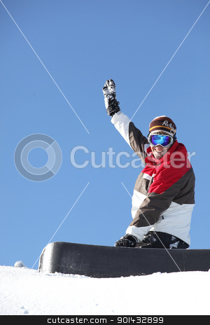A snowboarder waving his arm stock photo, A snowboarder waving his arm by photography33