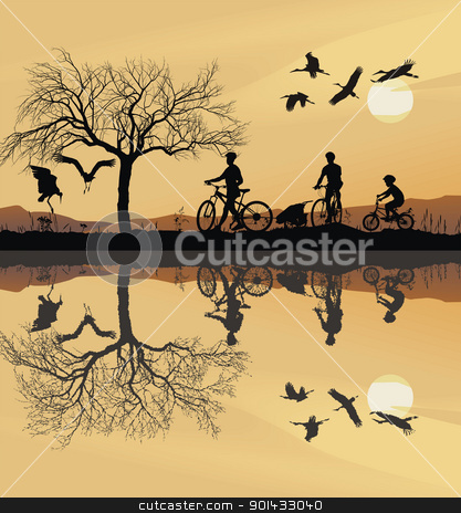 Family Trip to bike stock vector clipart, Illustration of a family on bicycles and their reflection in water by Vladim?