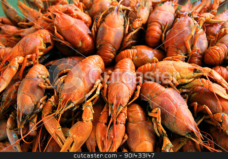 Background with many crawfishes stock photo, Background with many boiled crawfishes by Julialine