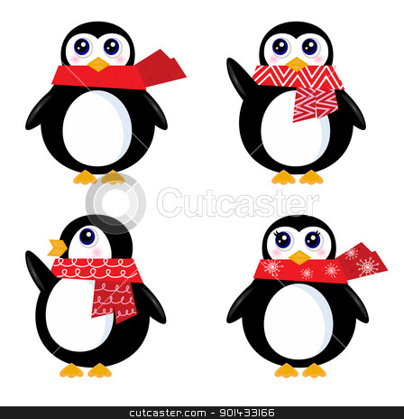 Christmas retro Penguin set isolated on white ( red ) stock vector clipart, Cute vector Penguins isolated on white. Vector by Jana Guothova