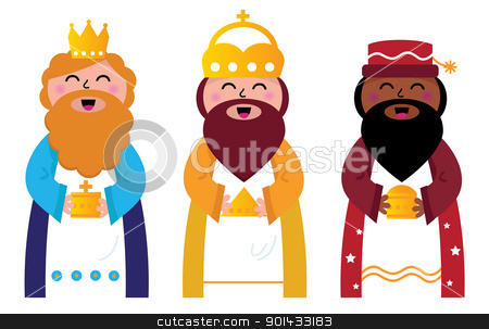 Three wise men bringing gifts to Christ, isolated on white stock vector clipart, Caspar, Melchior and Balthazar follow the star of Bethlehem. Vector cartoon Illustration by Jana Guothova
