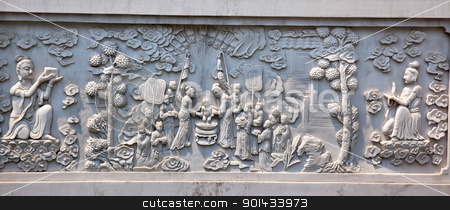 Stone Buddhist Panel Jing An Temple Shanghai China stock photo, Stone Buddhist Panel Jing An Tranquility Temple Shanghai China Richest buddhist temple in Shanghai Panel Shows Baby Buddha by William Perry