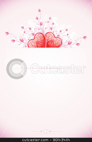 Valentines Day Card Template stock vector clipart, Abstract Valentines Day Card Template with Hearts and florals by Vadym Nechyporenko