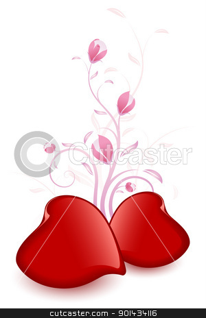 Valentines Day Card stock vector clipart, Abstract Valentines Day Card with Hearts and florals by Vadym Nechyporenko