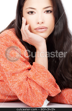 woman in a red orange wool sweater stock photo, portrait of a young girl in a red orange wool sweater, isolated on white background by iMarin