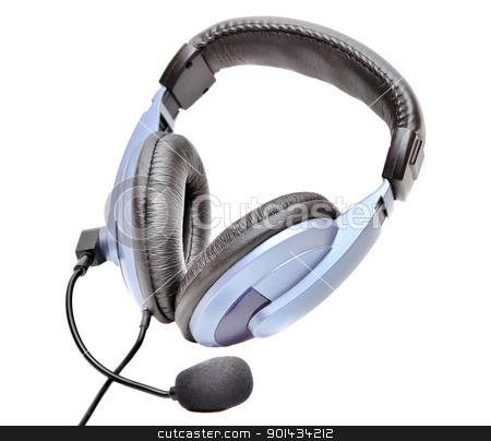 Blue headphones stock photo, Blue headphones close-up by Sergey Gorodenskiy