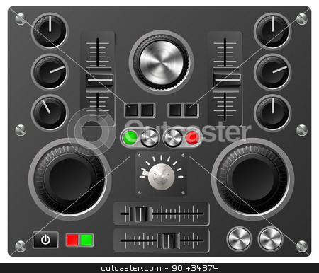 Sound board or studio controls stock vector clipart, Mixing desk production sound or video desk console sliders, buttons, knobs and switches by Christos Georghiou