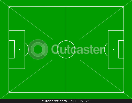 Soccer field stock photo, Illustration of a soccer field on green by Harry Huber