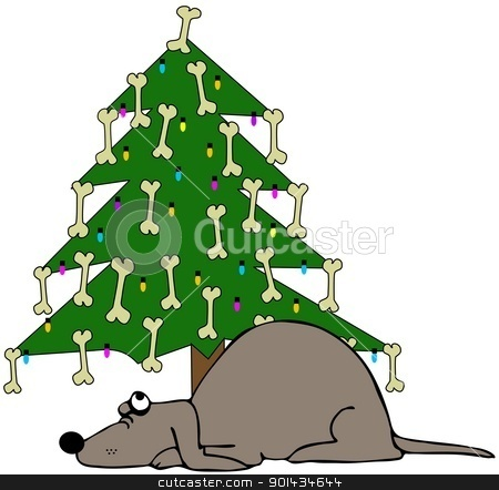 Dog Sleeping Under A Christmas Tree stock photo, This illustration depicts a dog sleeping under a Christmas tree decorated with bones. by Dennis Cox