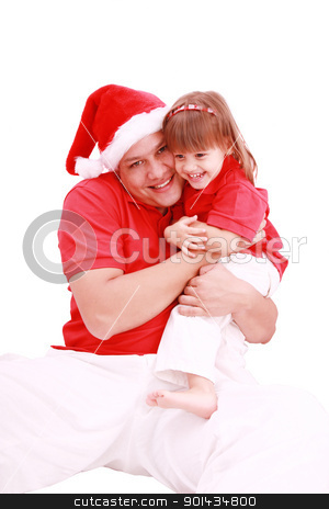 girl posing with her father on an isolated white background  stock photo, girl posing with her father on an isolated white background   by dacasdo