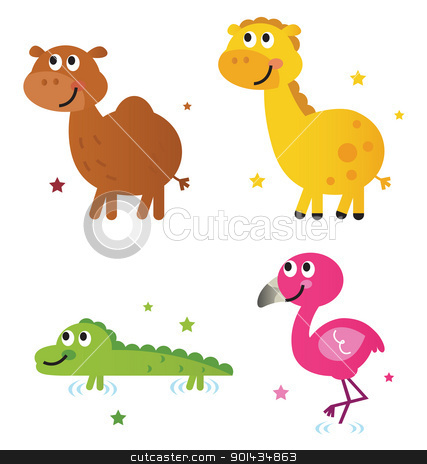 Cute safari africa animals set isolated on white stock vector clipart, Safari animals - giraffe, camel, croc and flamengo. Vector cartoon by BEEANDGLOW