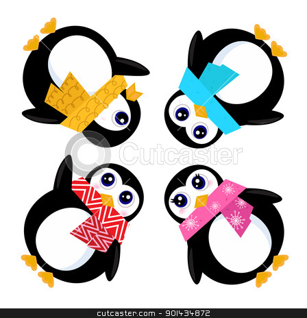 Group of Penguins in circle isolated on white stock vector clipart, Cute stylized Penguins. Vector cartoon Illustration by BEEANDGLOW