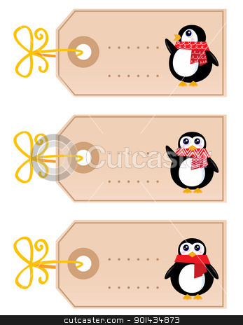 Cute christmas Penguin tags isolated on white ( retro ) stock vector clipart, Retro christmas tags with Penguins. Vector cartoon Illustration by BEEANDGLOW