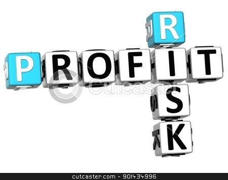 3D Profit Risk Crossword stock photo, 3D Profit Risk Crossword on white background by Mariusz Prusaczyk