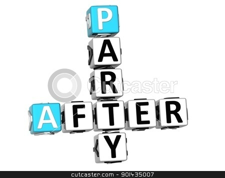 3D After Party Crossword stock photo, 3D After Party Crossword on white background by Mariusz Prusaczyk