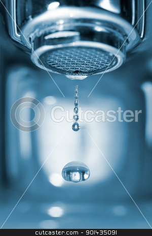 Water drop from a faucet stock photo, Water drop falling form a faucet in a blue bathroom, low depth of field by ruigsantos