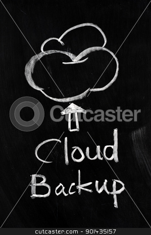 Cloud backup stock photo, Cloud backup written on blackboard by John Young