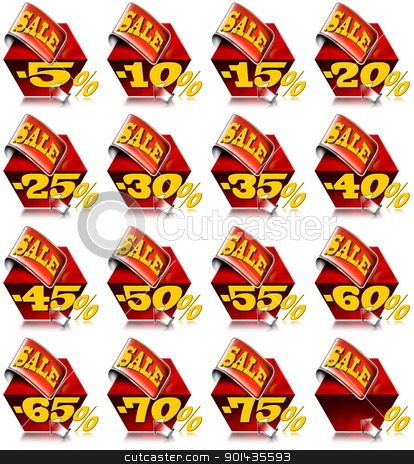 Set of Sale -  Red Promotional Cube stock photo, Set of promotional cube for sale with discounts and red sticker  by catalby