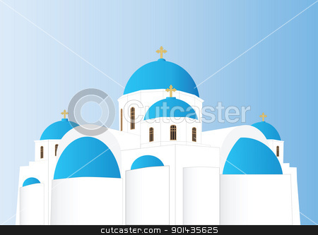 Greek Orthodox Church stock vector clipart, Vector of a Blue and White Greek Orthodox Church with Domes and Gold Crosses by d40xboy