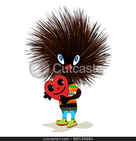 Hedgehog with heart stock vector clipart, Cute hedgehog mascot standing and holding a heart, isolated objects on white background by Richard Laschon