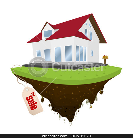 House for sale stock vector clipart, House for sale, conceptual real-estate icon on white background by Richard Laschon