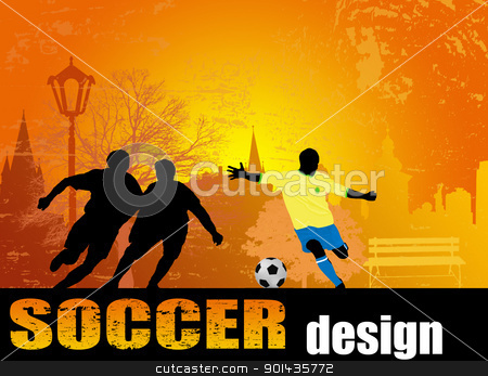 Soccer poster stock vector clipart, Action playerson the city park, on grunge background, vector illustration by radubalint