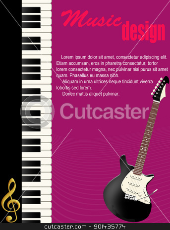 Poster with piano and guitar stock vector clipart, Poster background with piano and guitar, vector illustration by radubalint
