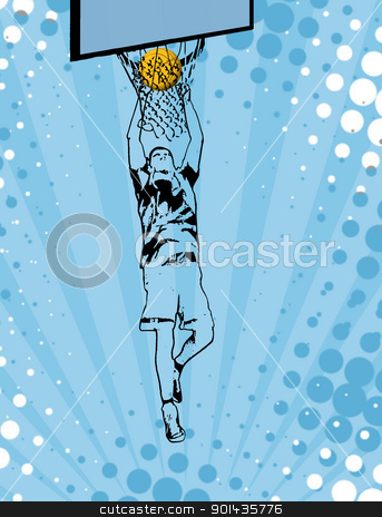 Basketball poster stock vector clipart, Basketball grunge poster background, vector illustration by radubalint