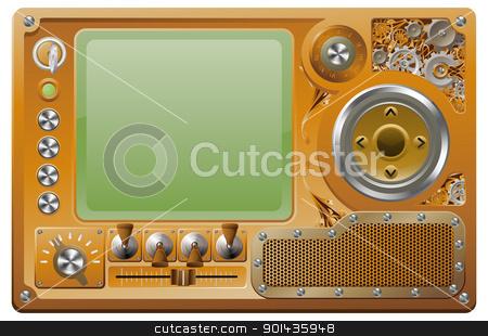 Steampunk grunge media player stock vector clipart, Steampunk style grunge media player control panel by Christos Georghiou