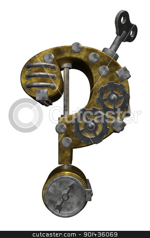 question mark machine stock photo, steampunk question mark on white background - 3d illustration by J?