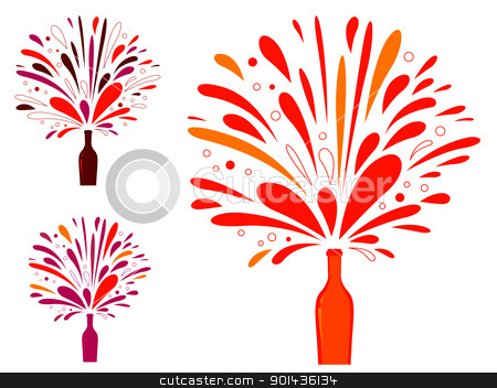 Splashing champagne or wine bottle isolated on white stock vector clipart, Retro wine collection in vibrant colors isolated on white. Vector illustration.  by BEEANDGLOW
