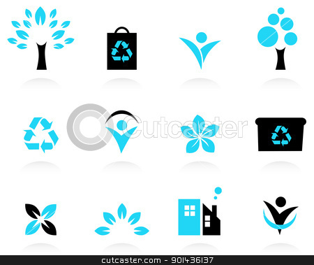 Ecology, nature and environment icons set isolated on white stock vector clipart, Bio, natural and ecological icons set. Vector by Jana Guothova