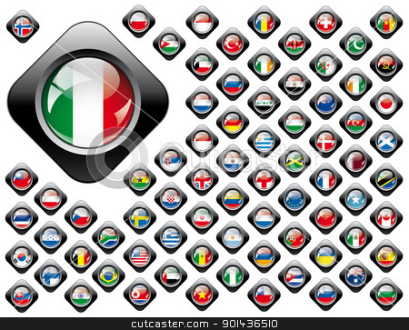 Shiny button flags with black frame collection -  vector illustr stock photo, Shiny button flags with black frame collection -  vector illustration. Isolated abstract object against white background. by mozzyb