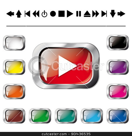 Set - collection of vector illustration shiny and glossy button  stock vector clipart, Set - collection of vector illustration shiny and glossy button isolated on white background. White, yellow, orange, brown, green, blue, pink, purple and black abstract web navigation buttons. by mozzyb