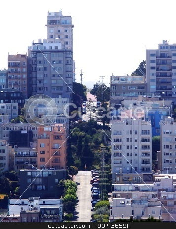 San Francisco stock photo, View from the coit tower of urban house area in San Francisco, California. by Henrik Lehnerer