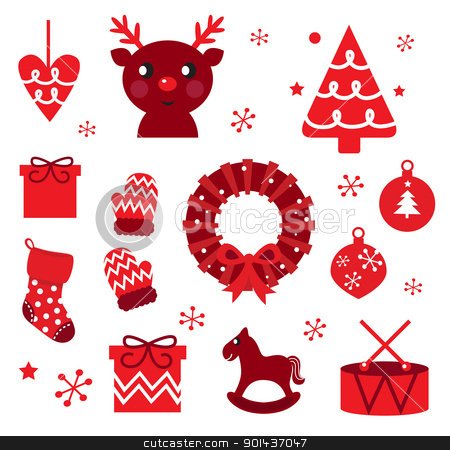Vector collection of christmas retro elements isolated on white stock vector clipart, Red retro xmas items and elements ( red ) by Jana Guothova
