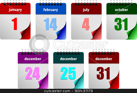 Seven abstract glossy calendar pages stock vector clipart, Seven abstract glossy calendar pages. New Year. Valentine's Day, Independence day. Halloween. Christmas.  Vector illustration by Leonid Dorfman