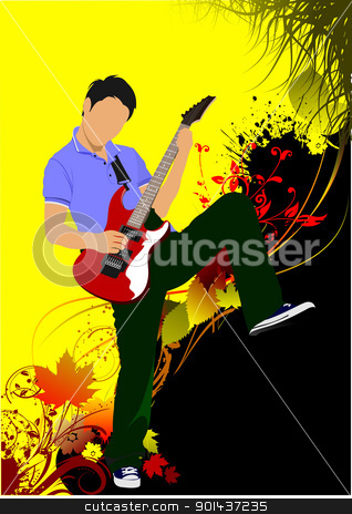 Guitar player on the autumn background. Vector illustration stock vector clipart, Guitar player on the autumn background. Vector illustration by Leonid Dorfman