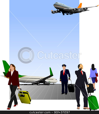 Airport scene . Vector illustration for designers stock vector clipart, Airport scene . Vector illustration for designers by Leonid Dorfman