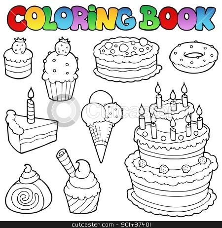 Coloring book various cakes 1 stock vector clipart, Coloring book various cakes 1 - vector illustration. by Klara Viskova