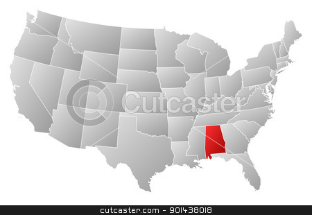 Map of the United States, Alabama highlighted stock vector clipart, Political map of United States with the several states where Alabama is highlighted. by Schwabenblitz