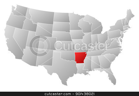 Map of the United States, Arkansas highlighted stock vector clipart, Political map of United States with the several states where Arkansas is highlighted. by Schwabenblitz