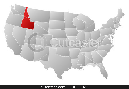 Map of the United States, Idaho highlighted stock vector clipart, Political map of United States with the several states where Idaho is highlighted. by Schwabenblitz