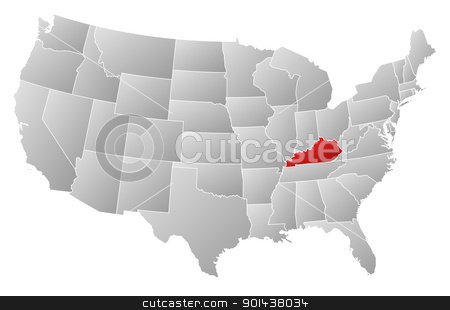 Map of the United States, Kentucky highlighted stock vector clipart, Political map of United States with the several states where Kentucky is highlighted. by Schwabenblitz