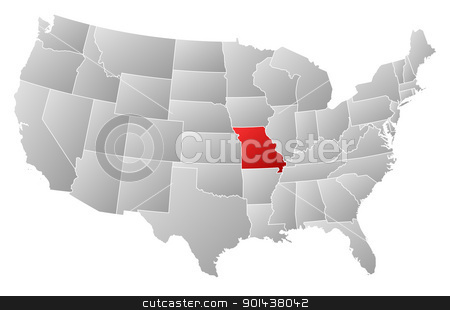 Map of the United States, Missouri highlighted stock vector clipart, Political map of United States with the several states where Missouri is highlighted. by Schwabenblitz