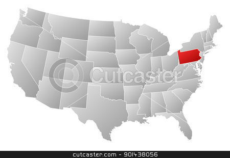 Map of the United States, Pennsylvania highlighted stock vector clipart, Political map of United States with the several states where Pennsylvania is highlighted. by Schwabenblitz