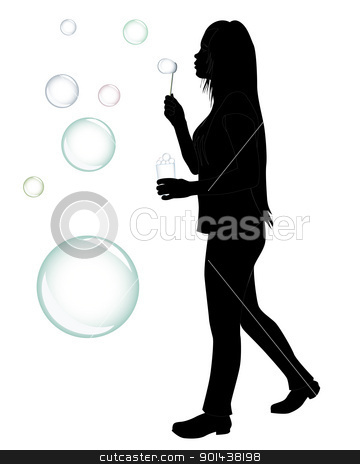 girl who blow bubbles stock vector clipart, black silhouette of a girl who blow bubbles on a white background by Yuriy Mayboroda