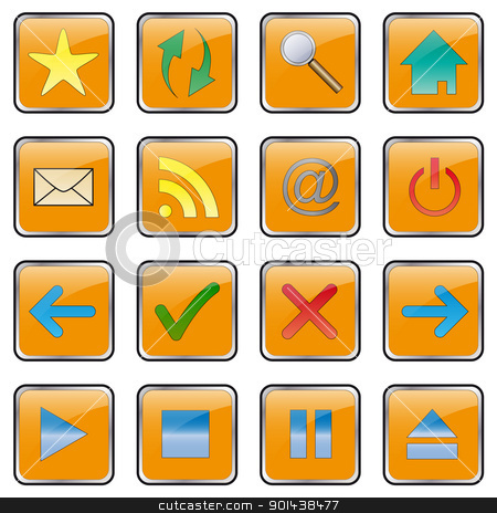 Web icon set - collection. Easy to edit vector button image. stock vector clipart, Web icon set - collection. Easy to edit vector button image. by mozzyb