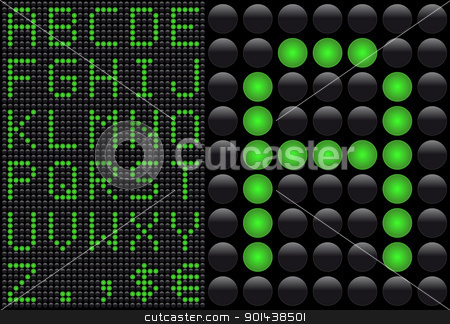 Vector LED - light emitting diode - info panel. Score board styl stock vector clipart, Vector LED - light emitting diode - info panel. Score board style letters. by mozzyb
