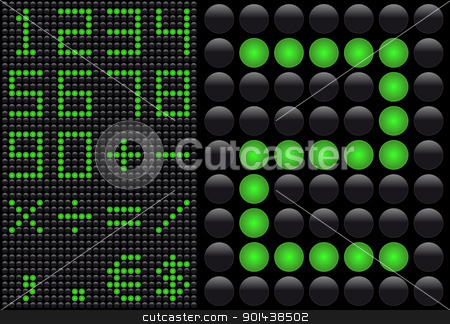Vector LED - light emitting diode - info panel. Score board styl stock vector clipart, Vector LED - light emitting diode - info panel. Score board style numbers. by mozzyb